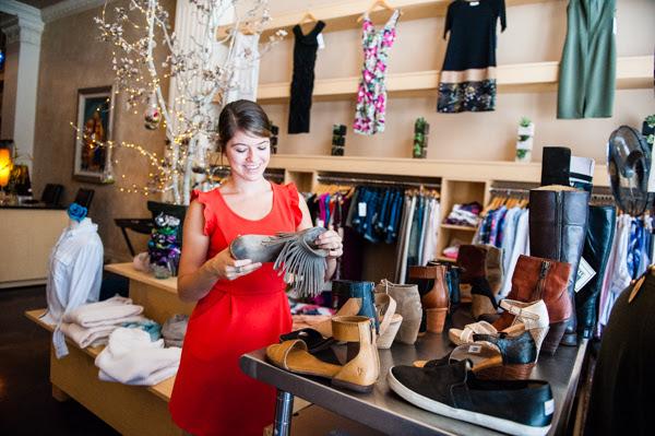 A woman shops for shoes