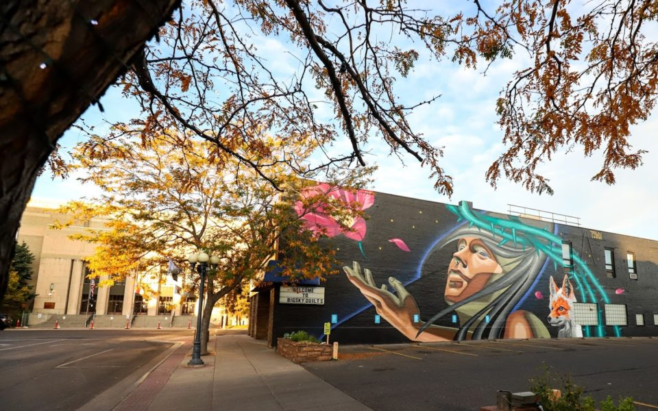A mural of a person with an outstretched hand and a fox is painted on the side of a building in Great Falls, MT